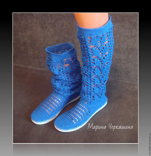 """Обувь ручной работы. Ярмарка Мастеров - ручная работа. Купить Вязаная обувь. Вязаные сапожки. """"Небеса"""". Handmade. Синий, вязаный"""