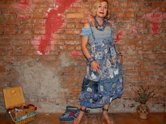 """Платья ручной работы. Ярмарка Мастеров - ручная работа. Купить Джинсовый сарафанчик в стиле """"Бохо"""". Handmade. Синий, джинса"""