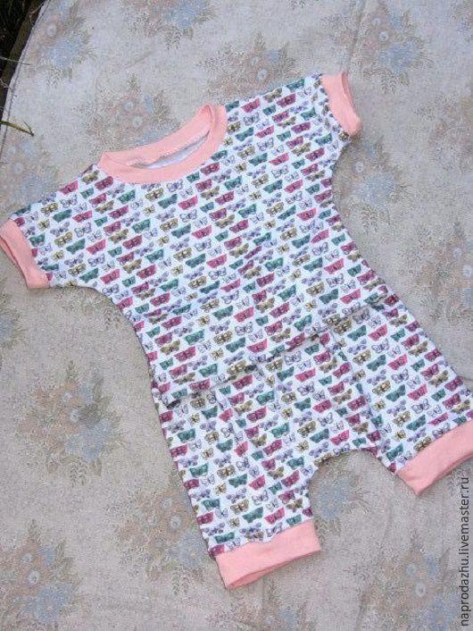 Одежда унисекс ручной работы. Ярмарка Мастеров - ручная работа. Купить комплект для малыша футболка + штанишки. Handmade. Бабочки