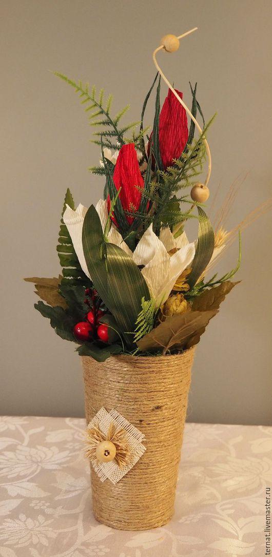 Букет из конфет в вазе, интерьерная композиция. Подарок. Купить.