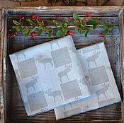 """Для дома и интерьера ручной работы. Ярмарка Мастеров - ручная работа Новогодние салфетки для сервировки стола """"Лосеферма"""", льняные салфетки. Handmade."""