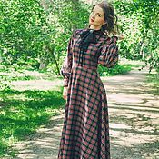 Одежда handmade. Livemaster - original item Long checkered dress Lady September. Handmade.