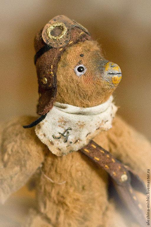 Мишки Тедди ручной работы. Ярмарка Мастеров - ручная работа. Купить Анри. Handmade. Птичка, летчик, натуральная кожа, шерстипон