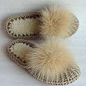 Обувь ручной работы. Ярмарка Мастеров - ручная работа Тапочки-шлепки, беж, полушерсть. Handmade.
