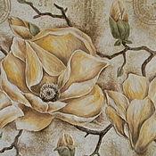 """Картины и панно ручной работы. Ярмарка Мастеров - ручная работа Панно """"Магнолия"""". Handmade."""