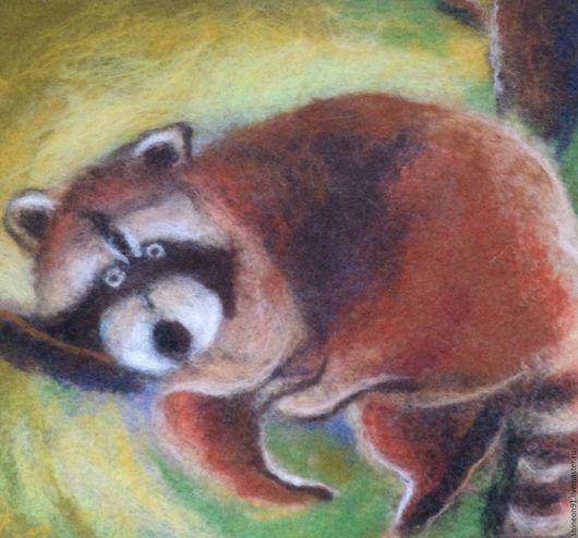 Животные ручной работы. Ярмарка Мастеров - ручная работа. Купить Картина из шерсти. Маленький енот отдыхает.. Handmade. Коричневый