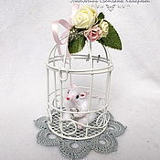 Stuffed Toys handmade. Livemaster - original item White mouse in a cage. Handmade.