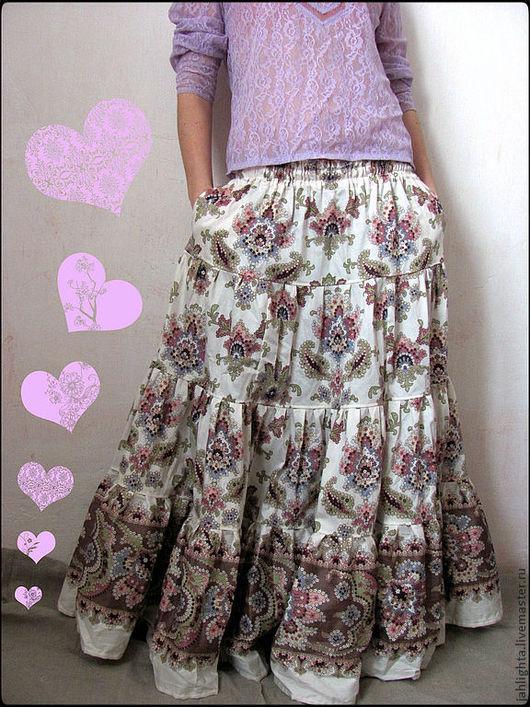 """Юбки ручной работы. Ярмарка Мастеров - ручная работа. Купить Длинная юбка с карманами """"Ваниль"""". Handmade. Цветочный, ярусная юбка"""