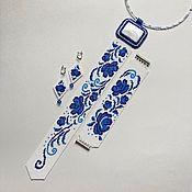 Украшения handmade. Livemaster - original item Jewelry sets: Gzhel: tie, bracelet and earrings. Handmade.