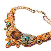 Украшения handmade. Livemaster - original item Rudbekia necklace with silk ribbon Shibori silk, simbircite and turquoise. Handmade.