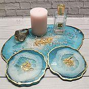 Элементы интерьера ручной работы. Ярмарка Мастеров - ручная работа Набор посуды из эпоксидной смолы BLUE. Handmade.