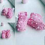 Работы для детей, ручной работы. Ярмарка Мастеров - ручная работа Пинетки и шапочка для новорожденных. Handmade.