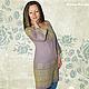 Льняное платье с ручной вышивкой Олива. Творческое ателье Modne-Narodne. Модная одежда с ручной вышивкой.