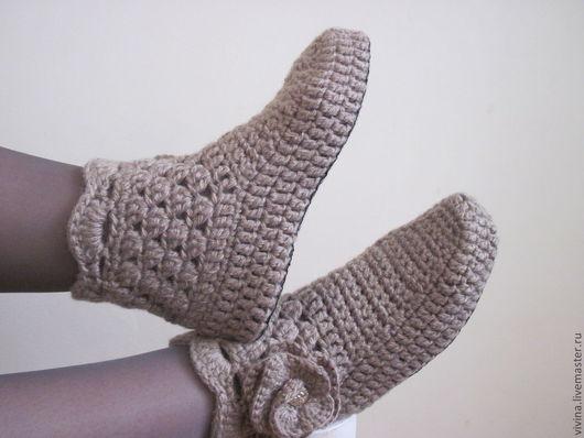 """Обувь ручной работы. Ярмарка Мастеров - ручная работа. Купить Сапожки  """"Либхен (linen) """". Handmade. Хаки, полушерсть"""