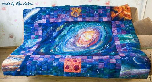 """Текстиль, ковры ручной работы. Ярмарка Мастеров - ручная работа. Купить Плед """"Космос"""" войлочный. Handmade. Плед войлочный, звезды"""