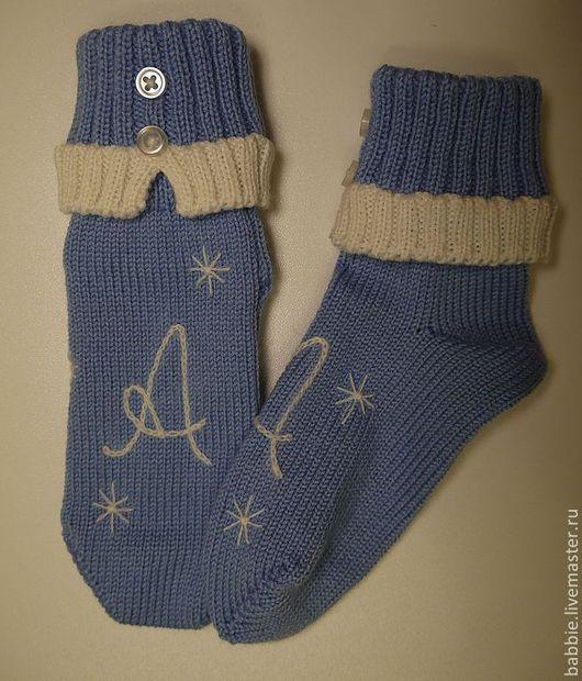 Для новорожденных, ручной работы. Ярмарка Мастеров - ручная работа. Купить Носочки для новорожденных с инициалами. Handmade. Носочки, носки теплые
