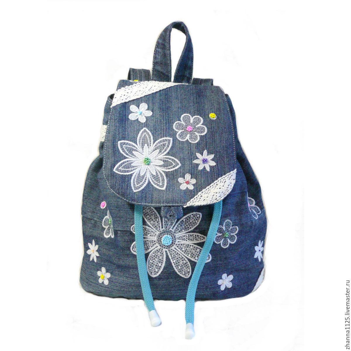 Джинсовые рюкзак для девочки с вышивкой husky рюкзаки