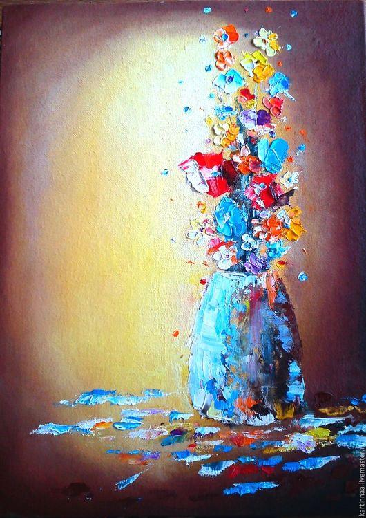 """Картины цветов ручной работы. Ярмарка Мастеров - ручная работа. Купить Картина маслом """" Яркий букет"""". Handmade. Комбинированный"""