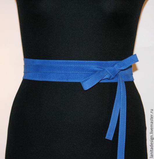 Пояса, ремни ручной работы. Пояс кушак из замши `Blue 4`. Lanita Design. Ярмарка Мастеров.