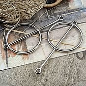 Материалы для творчества handmade. Livemaster - original item Connector geometry 25h48 mm platinum (3639). Handmade.