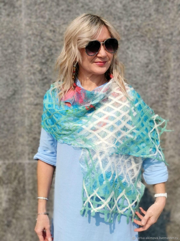 Scarf felted Gentle gentle, scarf felted on silk, 40 h160 cm, Scarves, Berdsk,  Фото №1