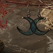 Украшения handmade. Livemaster - original item Moon Blue Transparent Earrings (e-003-10). Handmade.