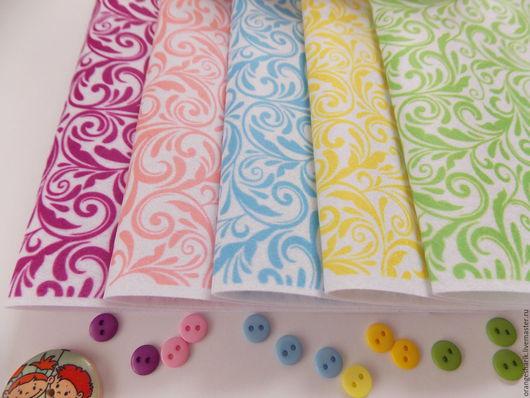 Другие виды рукоделия ручной работы. Ярмарка Мастеров - ручная работа. Купить Фетр корейский с цветочными узорами. Handmade. Комбинированный