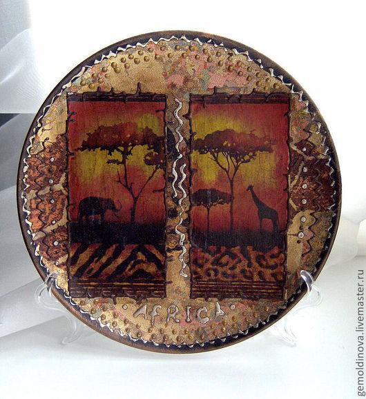 Декоративная посуда ручной работы. Ярмарка Мастеров - ручная работа. Купить декоративная тарелка Африка. Handmade. Оранжевый, посуда, кракелюр