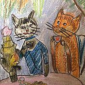 Картины и панно ручной работы. Ярмарка Мастеров - ручная работа У самовара я и моя кошка. Handmade.