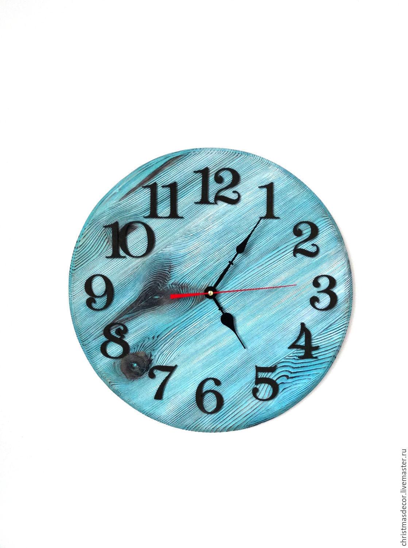 Часы ручной работы - дизайнерские, Часы можно сделать разных оттенков - уточняйте при заказе настенных часов, часы деревянные ручной работы для дома, настенные часы голубого цвета, оригинальные часы