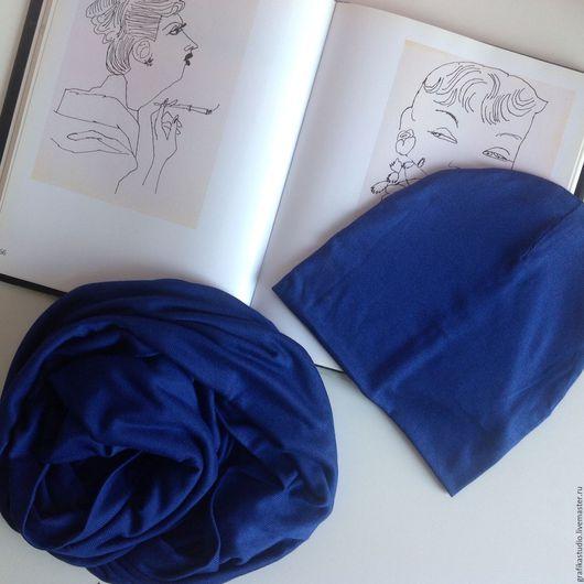 Шапки ручной работы. Ярмарка Мастеров - ручная работа. Купить Осенняя шапка и шарф-снуд синий электрик. Handmade. Синий