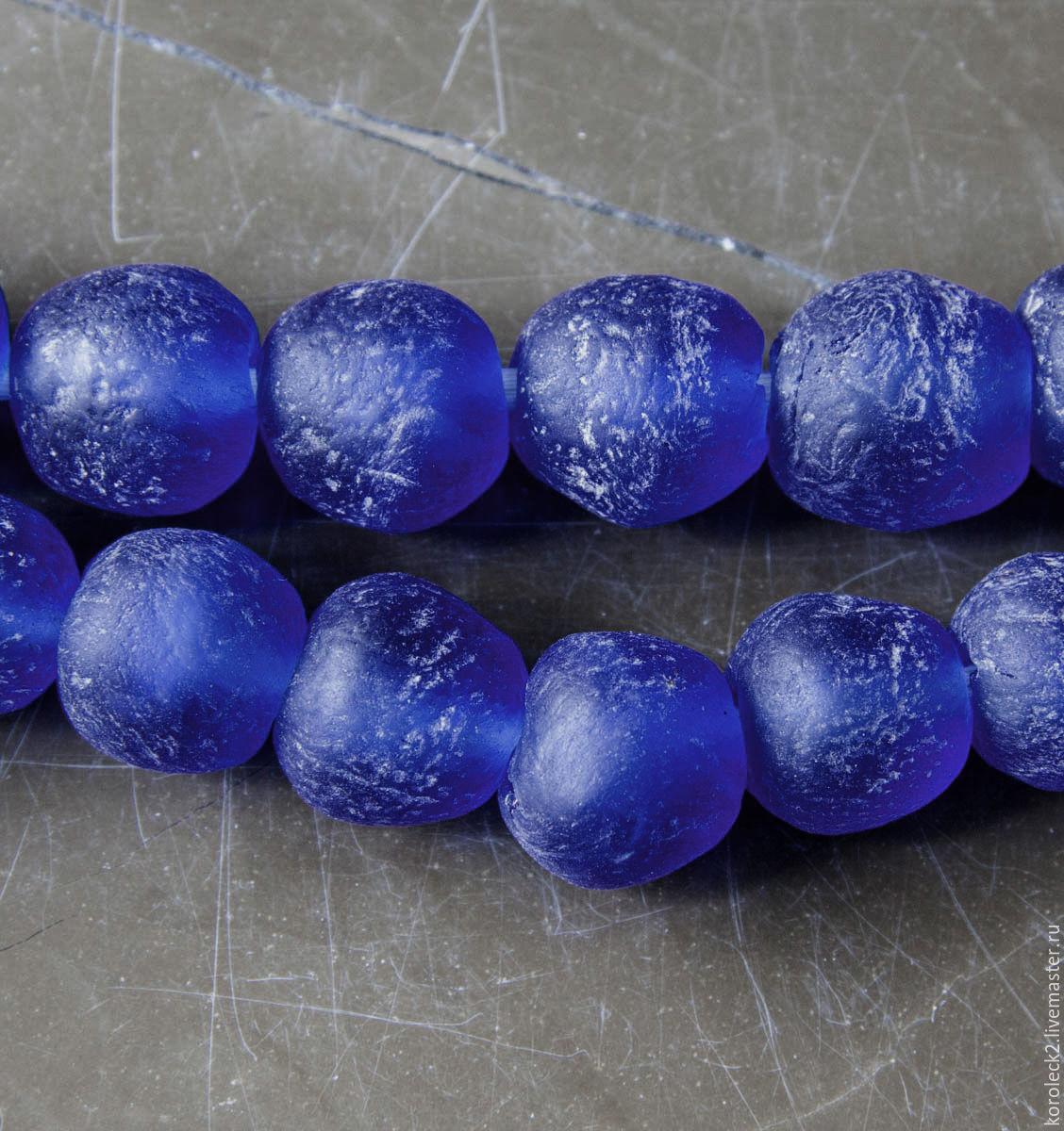 Африканские крупные синие стеклянные бусины, 20 мм, Бусины, Москва, Фото №1
