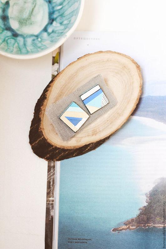 """Серьги ручной работы. Ярмарка Мастеров - ручная работа. Купить Серьги Tiffany blue из серии """"Геометрия"""". Handmade. Тренд, минимализм"""
