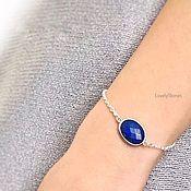 handmade. Livemaster - original item Oval bracelet with blue lapis lazuli on a chain. Handmade.