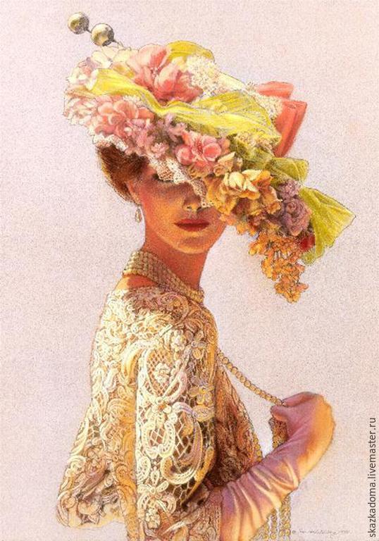 Набор вышивка лентами дама