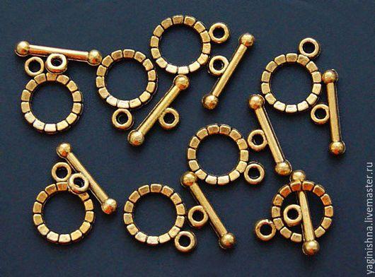 Для украшений ручной работы. Ярмарка Мастеров - ручная работа. Купить Замок-тогл, золотистый, миниатюрный. Handmade. Металл