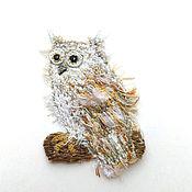 Брошь-булавка ручной работы. Ярмарка Мастеров - ручная работа Брошь в стиле бохо птица Сова. Handmade.