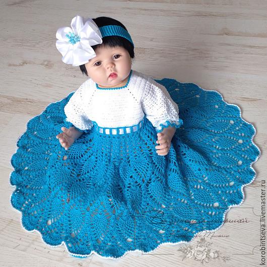 Одежда для девочек, ручной работы. Ярмарка Мастеров - ручная работа. Купить Крестильное платье и повязка бело-бирюзовые 6мес+. Handmade.