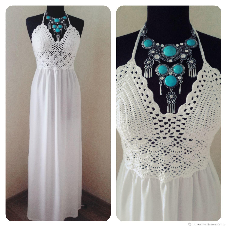 97c00fcbf2a Белое платье в пол – купить в интернет-магазине на Ярмарке Мастеров ...