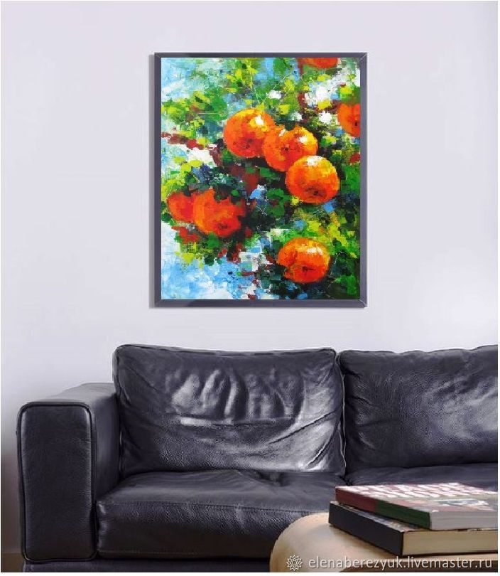 Orange painting kitchen wall art dining room decor orange for Kitchen and dining wall art