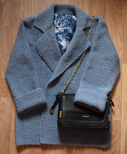 Верхняя одежда ручной работы. Ярмарка Мастеров - ручная работа. Купить Вязаная куртка. Handmade. Синий, вязаная куртка