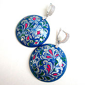 Украшения handmade. Livemaster - original item Large earrings with a painting on a VISIT to the SNOW QUEEN-2. Handmade.