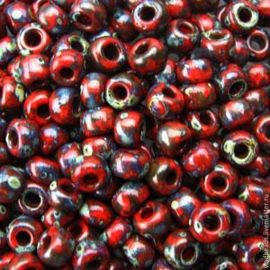 Для украшений ручной работы. Ярмарка Мастеров - ручная работа. Купить Бисер 6/0 Miyuki 4513 Opaque Picasso Red. Handmade.