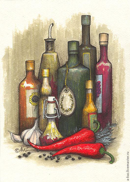 Натюрморт ручной работы. Ярмарка Мастеров - ручная работа. Купить Просто растительное масло. Handmade. Масло, чеснок, натюрморт, маркеры
