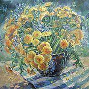 Картины и панно ручной работы. Ярмарка Мастеров - ручная работа картина Весеннее солнце  Одуванчики масло холст. Handmade.