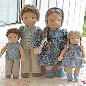 Вальдорфские куклы и звери ручной работы. Ярмарка Мастеров - ручная работа Вальдорфская кукла Семья цвет синий. Handmade.