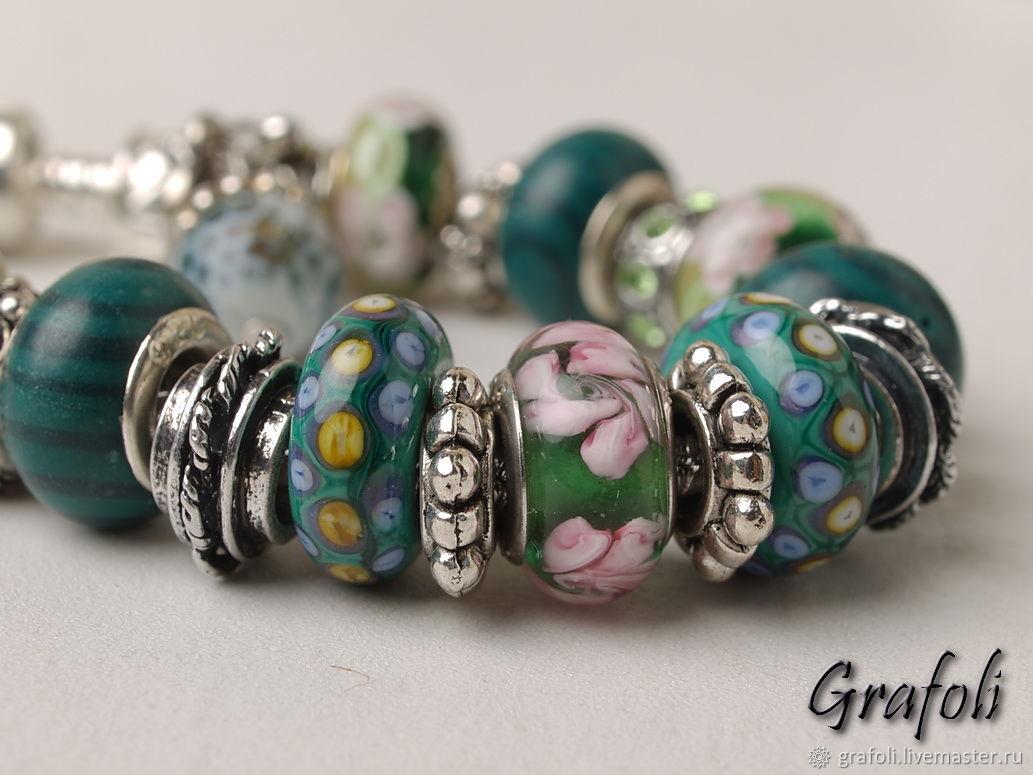 Malachite charm bracelet, Bead bracelet, Moscow,  Фото №1