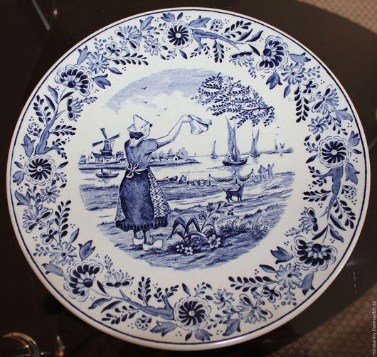 """Винтажные предметы интерьера. Ярмарка Мастеров - ручная работа. Купить Декоративная, настенная тарелка """"Проводы рыбака"""" Boch Delfts, Бельгия. Handmade."""