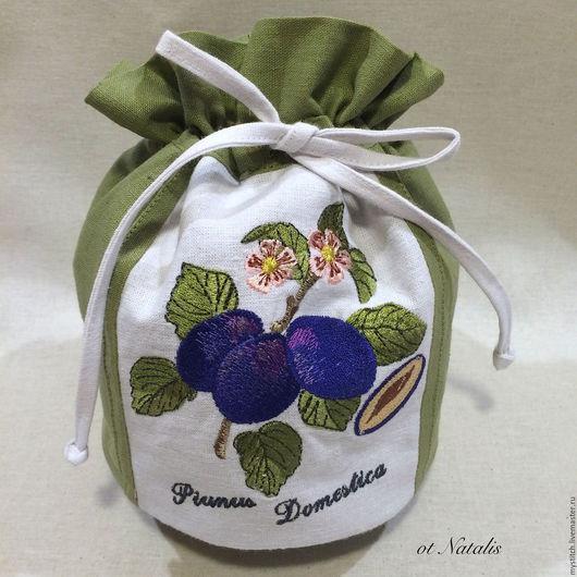 """Кухня ручной работы. Ярмарка Мастеров - ручная работа. Купить Льняной мешочек """"Слива домашняя"""" Villeroy & Boch French Garden. Handmade."""