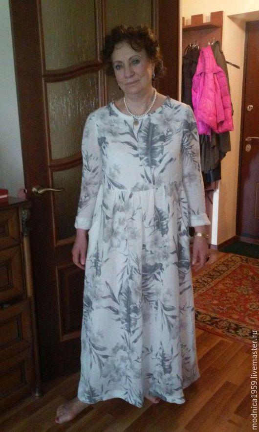 Платья ручной работы. Ярмарка Мастеров - ручная работа. Купить летнее платье. Handmade. Белый, лен 100%, Свободный стиль